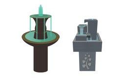 Les deux fontaines d'antique et de moderne illustration stock
