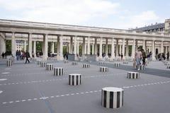 Les Deux Plateaux; art installation by Daniel Buren in the inne Stock Image