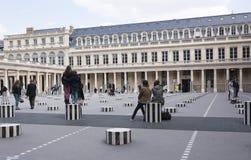Les Deux Plateaux; art installation by Daniel Buren in the inner Stock Photos