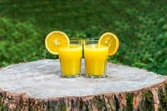 Les deux verres de jus d'orange frais Image libre de droits