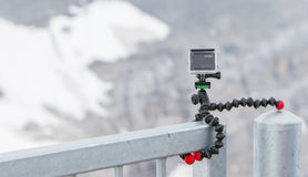 LES DIABLERETS, SWITZERLAND - JULY 22, 2015: Closeup of GoPro He Royalty Free Stock Image