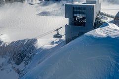 LES DIABLERETS, SWIZTERLAND - 10.20.2020: Overhead cable car to area Glacier 3000. The world only suspension bridge between 2