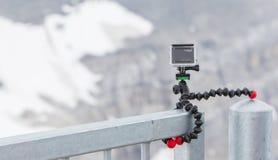 LES DIABLERETS, ZWITSERLAND - JULI 22, 2015: Close-up van GoPro hij Royalty-vrije Stock Afbeelding