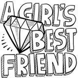 Les diamants sont le croquis de l'meilleur ami d'une fille Photo libre de droits