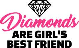 Les diamants sont slogan de meilleur ami de filles illustration libre de droits