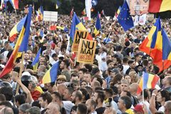 Les Diaspora protestent en Roumanie images stock