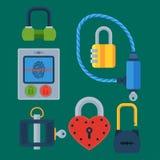 Les différentes icônes de serrure de porte de maison réglées dirigent l'élément d'intimité de mot de passe de sécurité avec la cl Image libre de droits