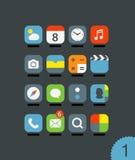 Les différentes icônes mobiles d'application ont placé avec les coins arrondis Photographie stock libre de droits