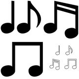 Les différentes notes simples noires Photo libre de droits