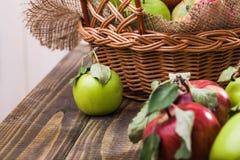 Les différentes pommes s'approchent du panier Images stock