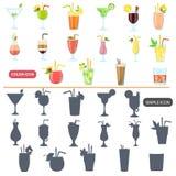 Les différents cocktails colorent les icônes plates et simples réglées Photos libres de droits