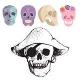 Les différents crânes de style fait face au style d'horreur de Halloween d'illustration de vecteur Photographie stock libre de droits