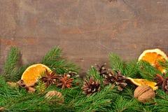 Les différents genres d'épices, écrous, ont séché des oranges, des cônes et le spruse Image stock