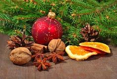 Les différents genres d'épices, écrous, ont séché des oranges et des cônes, le Christ Photographie stock