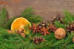 Les différents genres d'épices, écrous, ont séché les oranges et la branche de spruse Images libres de droits
