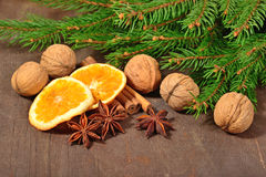 Les différents genres d'épices, écrous, ont séché les oranges et la branche de spruse Photos libres de droits
