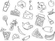 Les différents genres de produits et la nourriture placent - dirigez l'illustration Images stock