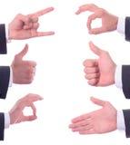 Les différents gestes de main images libres de droits