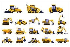 Les différents types de camions de construction réglés, équipement lourd, véhicules de construction dirigent des illustrations su illustration de vecteur