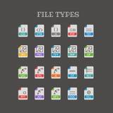 Les différents types de fichier amincissent la ligne icônes de couleur réglées Images libres de droits
