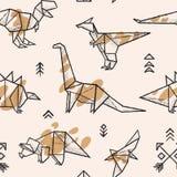 Les dinosaures d'origami avec éclabousse le modèle sans couture Illustration tirée par la main à la mode de vecteur Photo libre de droits