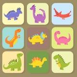 Les dinosaures de bande dessinée dirigent le dragon jurassique prédateur d'imagination de Dino de monstre d'illustration de repti Photos stock