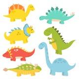 Les dinosaures de bande dessinée dirigent le dragon jurassique prédateur d'imagination de Dino de monstre d'illustration de repti Photo stock