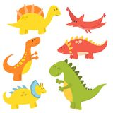 Les dinosaures de bande dessinée dirigent le dragon jurassique prédateur d'imagination de Dino de monstre d'illustration de repti Image stock