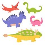 Les dinosaures de bande dessinée dirigent le dragon jurassique prédateur d'imagination de Dino de monstre d'illustration de repti Photos libres de droits