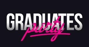 Les diplômés font la fête le lettrage de main de titre illustration stock