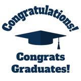 Les diplômés scolaires de félicitations de hutte et d'inscription dirigent l'illustration plate illustration stock