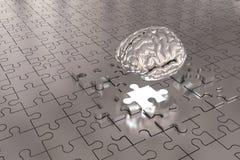 Les disparus de cerveau de morceau de puzzle construisent l'argent Photos stock