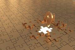 Les disparus locaux de morceau de puzzle construisent l'or Images libres de droits