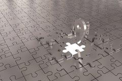 Les disparus locaux de morceau de puzzle construisent l'argent Photo stock