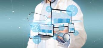 Les dispositifs de participation de docteur avec l'icône et le stéthoscope médicaux 3d les déchirent image libre de droits