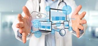 Les dispositifs de participation de docteur avec l'icône et le stéthoscope médicaux 3d les déchirent image stock