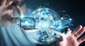 Les dispositifs de technologie se sont reliés entre eux par le rendu de l'homme d'affaires 3D Image libre de droits