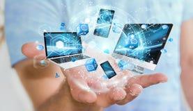 Les dispositifs de technologie se sont reliés entre eux par le rendu de l'homme d'affaires 3D Photo stock