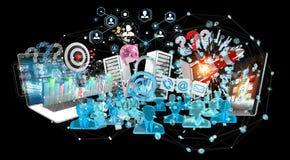 Les dispositifs et les objets d'affaires ont relié ensemble le rendu 3D Image libre de droits