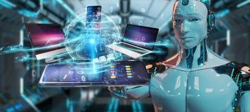 Les dispositifs modernes se sont reliés dans le rendu de la main 3D de robot illustration de vecteur