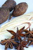 Les divers genres d'épices de fines herbes aiment des étoiles d'anis photo stock