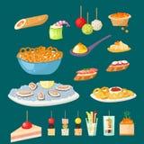 Les divers poissons et fromage d'apéritif de casse-croûte de canape de viande régalent des casse-croûte sur l'illustration de vec illustration stock