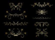Les diviseurs d'or - dirigez les éléments avec des fleurs illustration stock