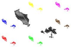 Les divisions administratives d'île de Wuqiu de Taïwan, République de Chine, ROC, comtés tracent l'illustration de vecteur, croqu illustration stock
