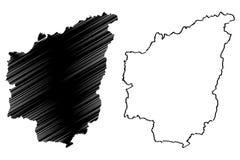 Les divisions administratives de Nantou de Taïwan, République de Chine, ROC, comtés tracent l'illustration de vecteur, croquis de illustration libre de droits