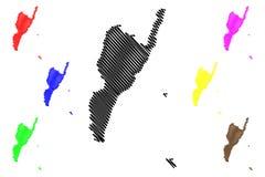 Les divisions administratives de Taitung de Taïwan, République de Chine, ROC, comtés tracent l'illustration de vecteur, croquis d illustration libre de droits