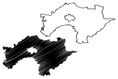 Les divisions administratives du comté de Chiayi de Taïwan, République de Chine, ROC, comtés tracent l'illustration de vecteur, c illustration stock
