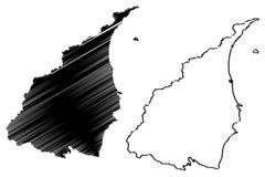 Les divisions administratives du comté de Yilan de Taïwan, République de Chine, ROC, comtés tracent l'illustration de vecteur, Je illustration de vecteur