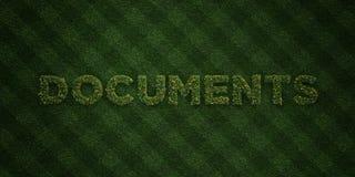 Les DOCUMENTS - lettres fraîches d'herbe avec des fleurs et des pissenlits - redevance rendue par 3D libèrent l'image courante Image stock