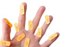 les doigts étiquettent le blanc Images libres de droits